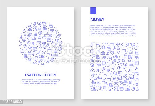 Set of Money Related Icons Vector Pattern Design for Brochure,Annual Report,Book Cover.
