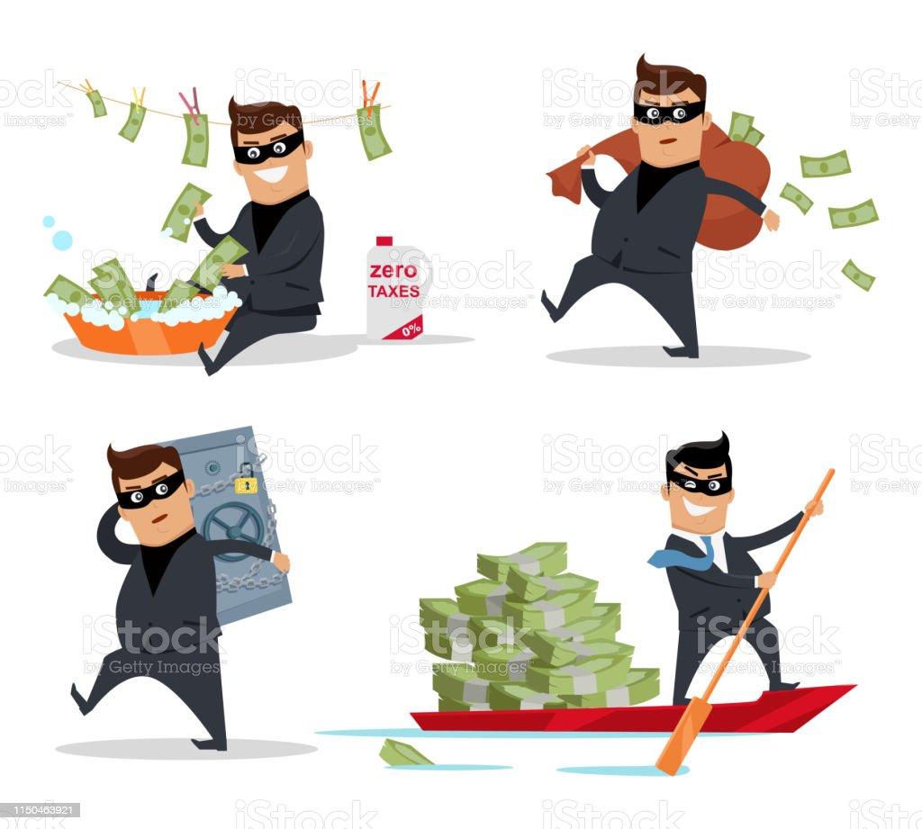 Set of money stealing concepts vector. Flat design. Financial crime,...