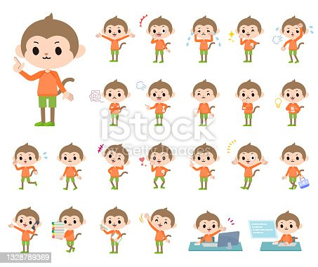 A set of monkey boy with who express various emotions