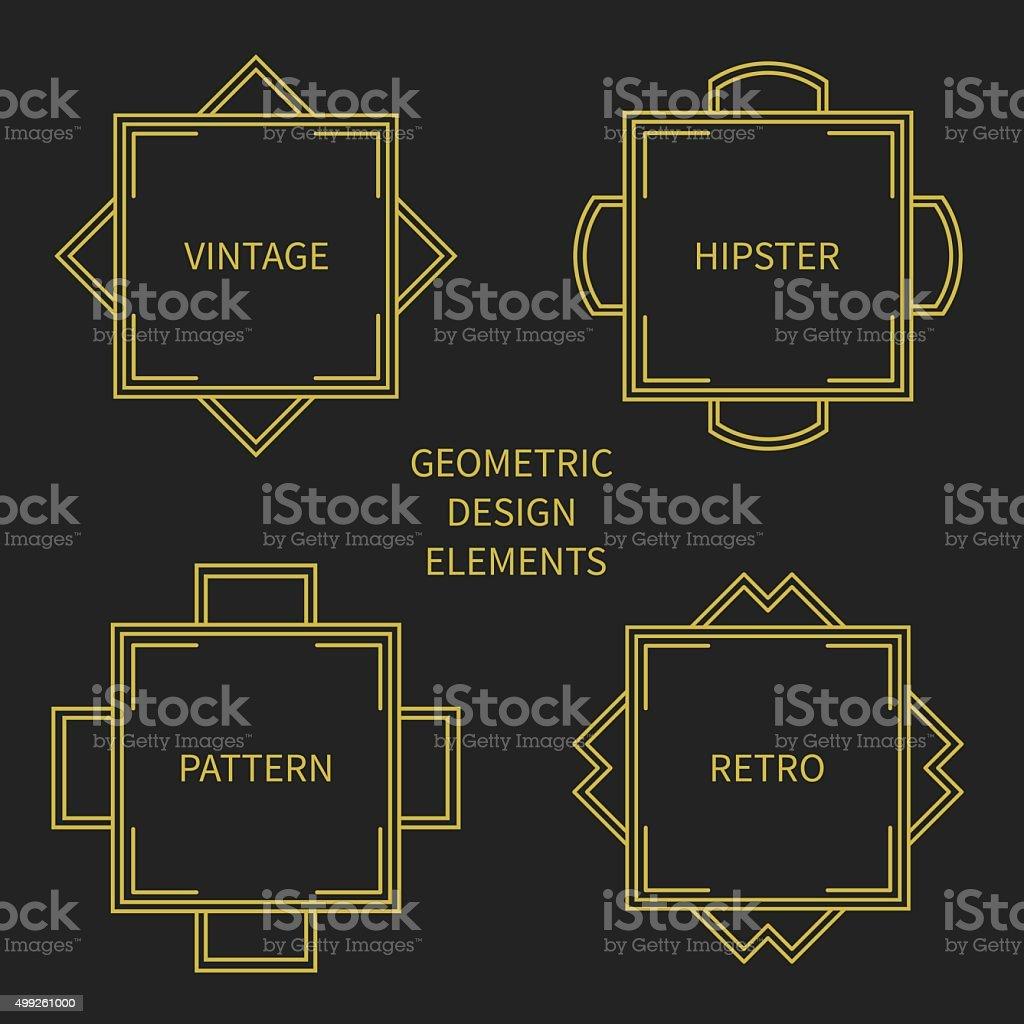 Set of mono line retro frame. Design border. Labels, badges. vector art illustration