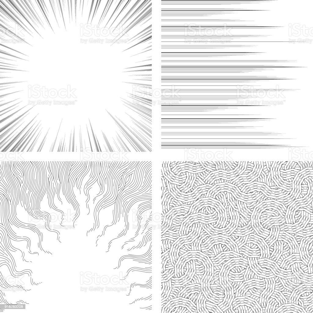 Conjunto de planos de fundo monocromáticos para livros de banda desenhada - ilustração de arte em vetor
