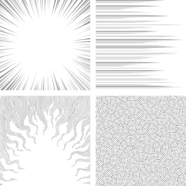 Set of monochrome backgrounds for comic books Background material impact stock illustrations