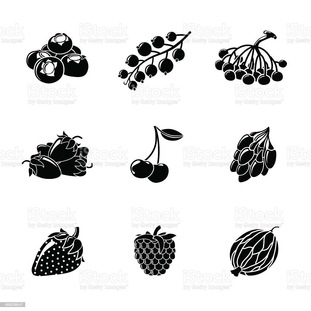Set of monochrome BERRIES icons - cherry, strawberry, raspberry, currant vector art illustration