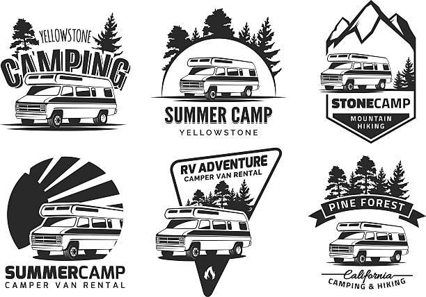 Set of monochrome camper van car emblems Set of monochrome camper van car emblems and badges isolated on white background. Recreational vehicle and camping design elements. motor home stock illustrations