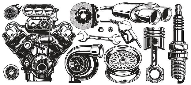 Set of monochrome car repair service elements