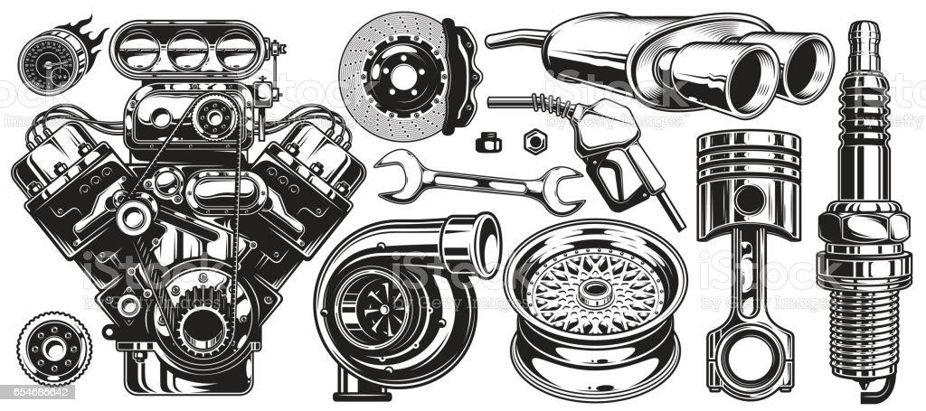 Set of monochrome car repair service elements vector art illustration