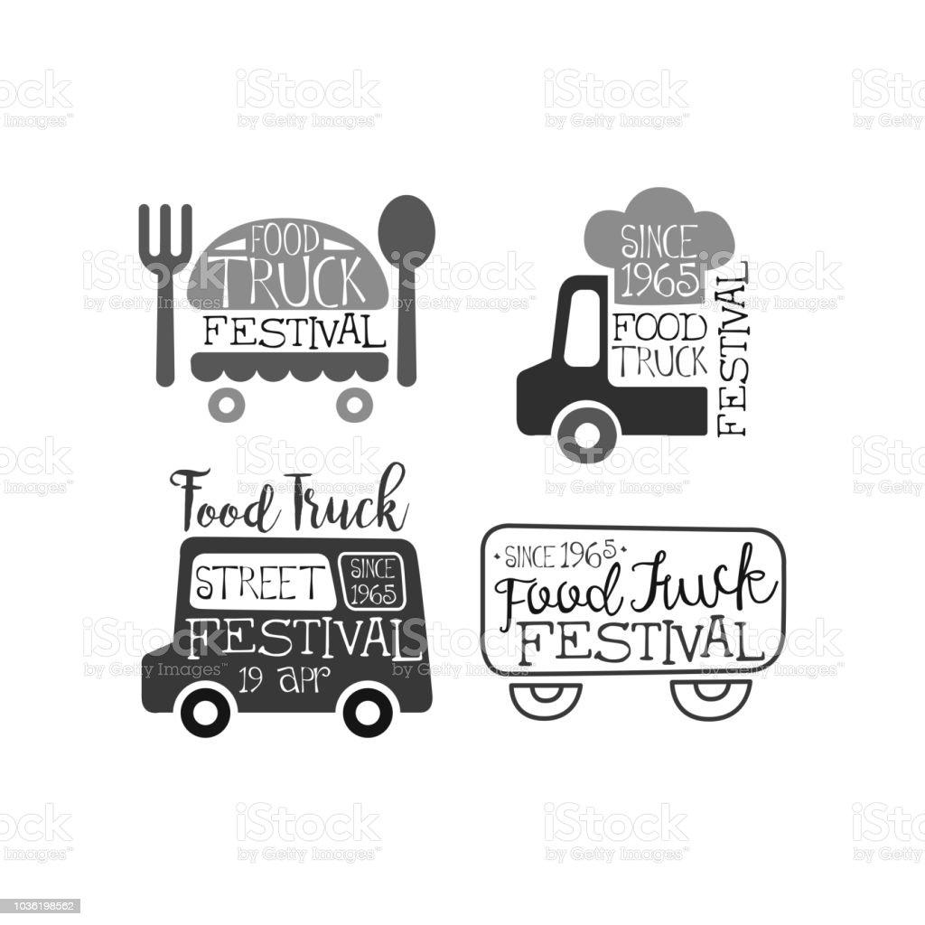 Satz von monochromen Embleme für LKW feinschmeckerfest. Original Logos mit vans, Koch s Hut, Gabel und Löffel. Vektor für Werbeplakat – Vektorgrafik