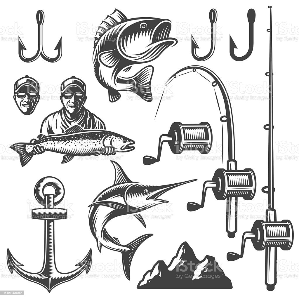 Set of monochrome fishing elements vector art illustration