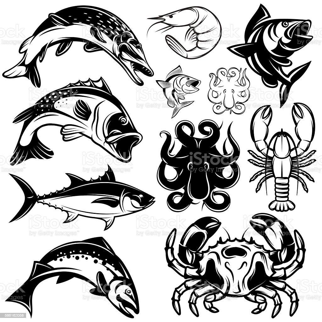 set of monochrome freshwater and marine fish and shellfish vector art illustration