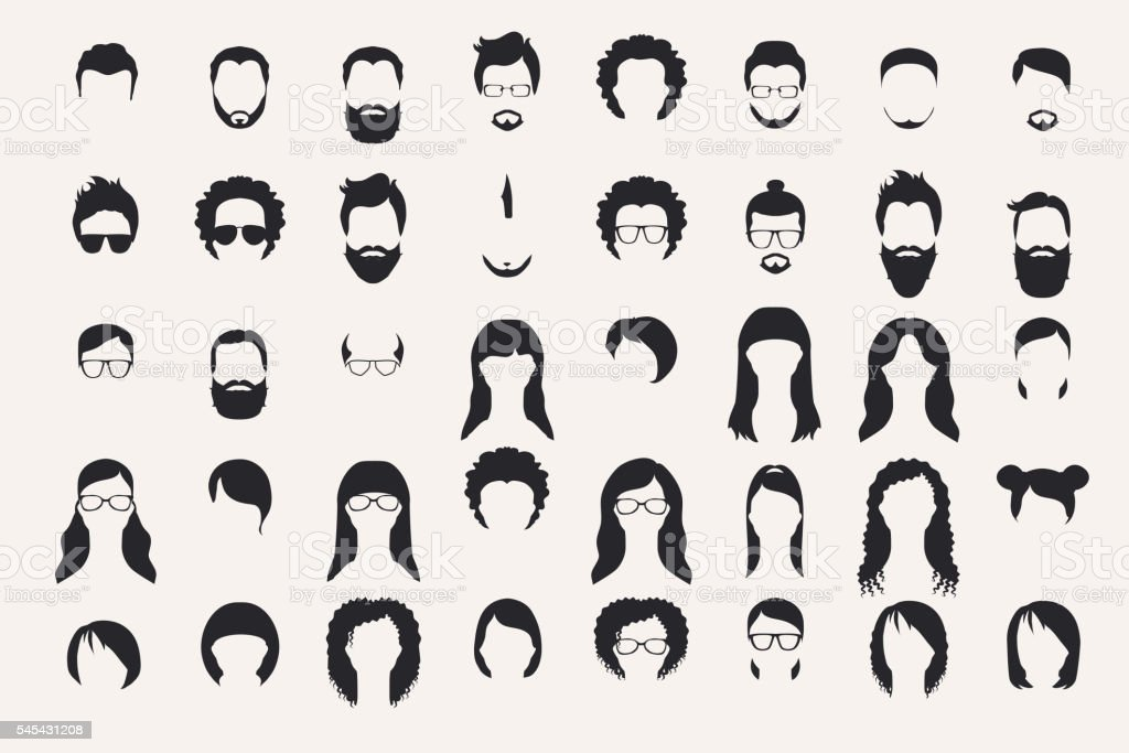 Set of monochrome icons. Hearstyle and beards. vector art illustration