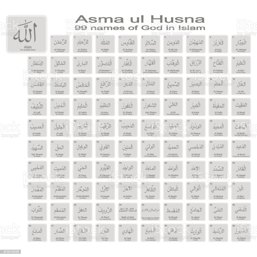 set of monochrome icons with 99 names of god in islam vector art illustration