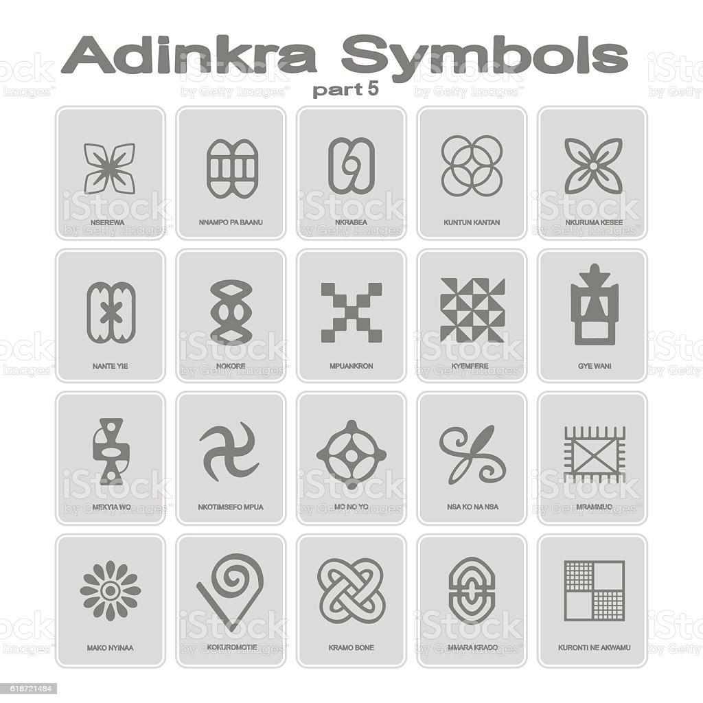 Set Of Monochrome Icons With Adinkra Symbols Stock Vector Art More