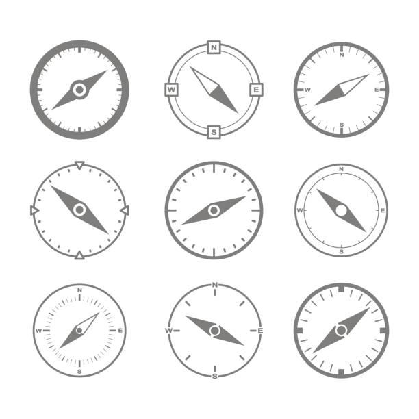 ilustraciones, imágenes clip art, dibujos animados e iconos de stock de conjunto de iconos monocromos con brújula - brújula