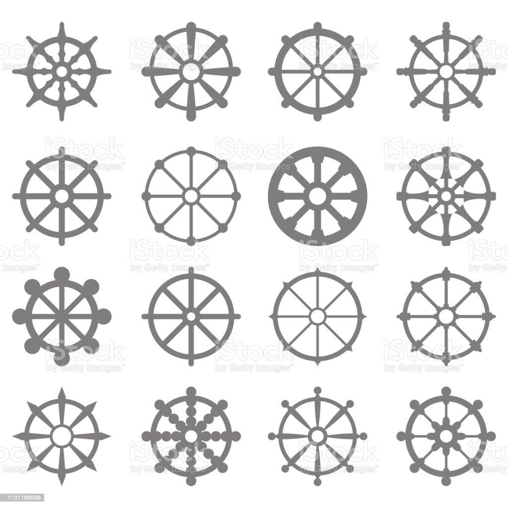 Set Of Monochrome Icons With Dharmachakra Hinduism Symbol