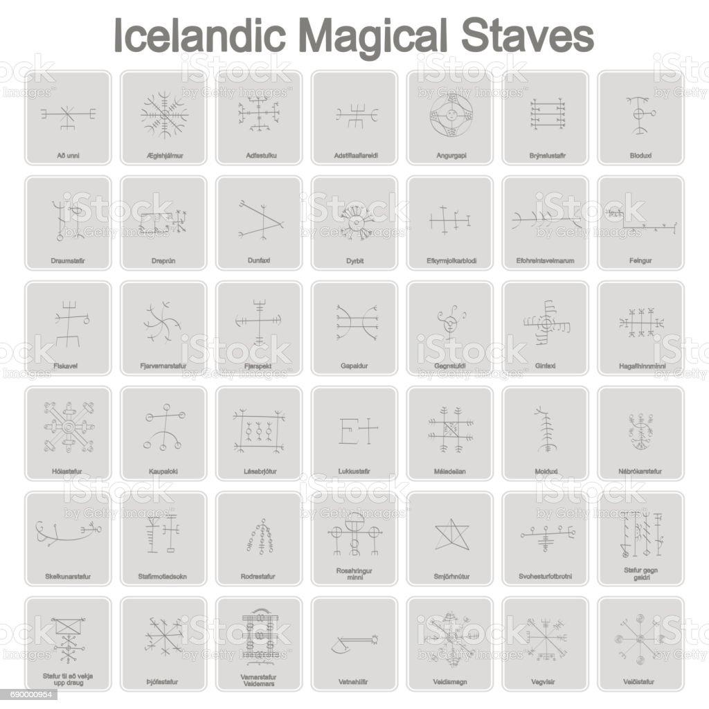 set of monochrome icons with Icelandic magical symbols