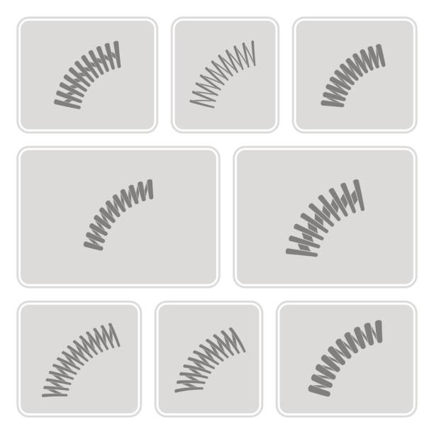 set of monochrome icons with Springs vector art illustration