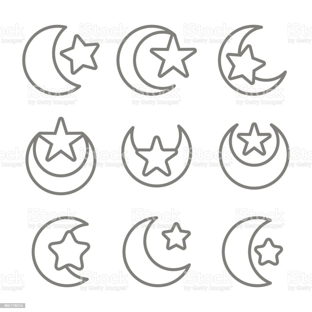 Set of monochrome icons with symbol of islam crescent moon with star set of monochrome icons with symbol of islam crescent moon with star royalty free set biocorpaavc Gallery