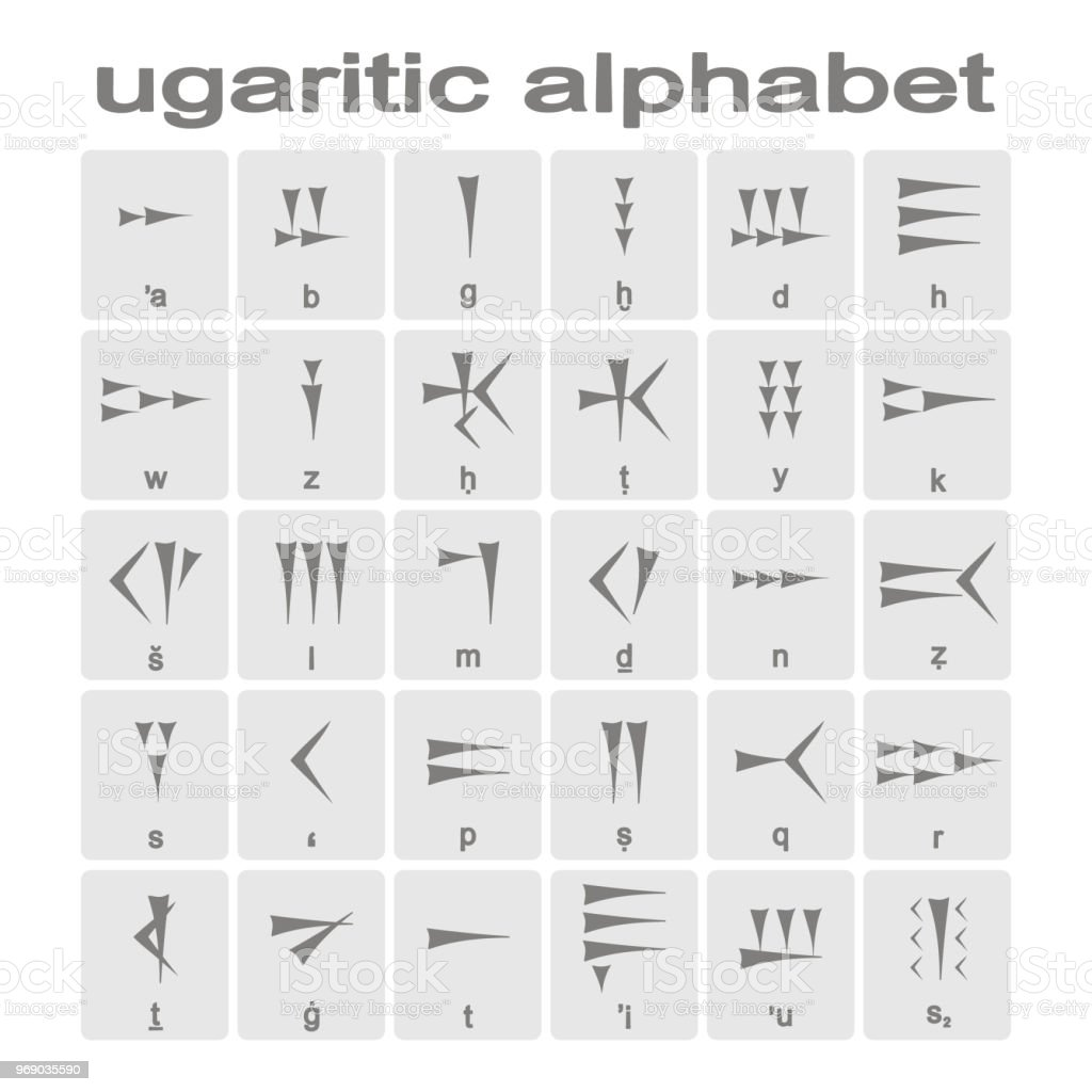 Set Of Monochrome Icons With Ugaritic Cuneiform Alphabet Stock