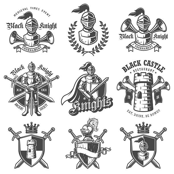 set of monochrome knights emblems - knight in shining armor stock illustrations, clip art, cartoons, & icons