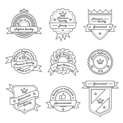 Set of Monochrome Label, Logo and Badge Templates