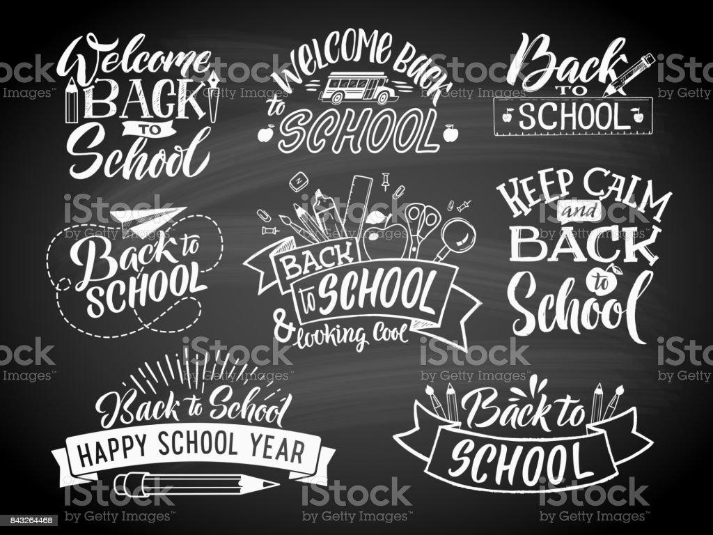 Conjunto de rótulos de escola monocromático. Projeto de emblema vetor para o centro de educação ou Universidade - ilustração de arte em vetor
