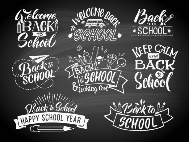 set of monochrome school labels. vector emblem design for education center or university - back to school stock illustrations, clip art, cartoons, & icons