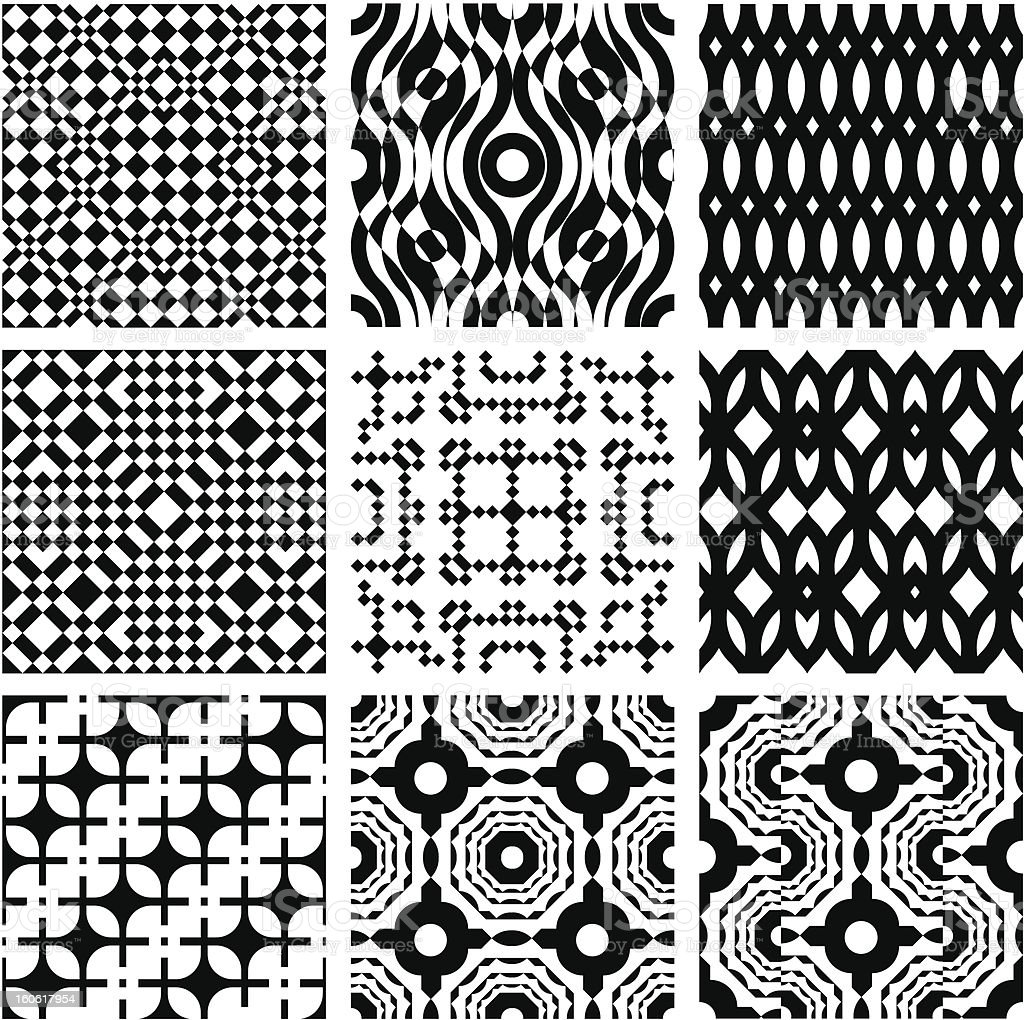 Set of monochrome seamless patterns. royalty-free stock vector art