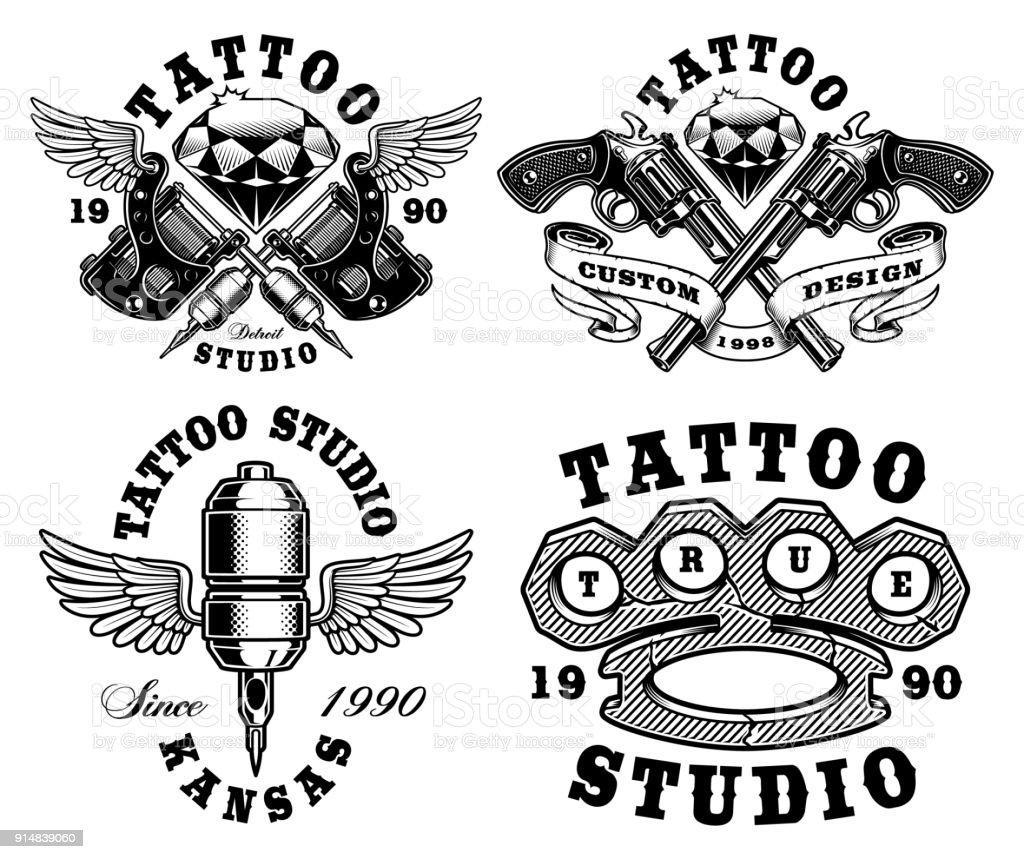 Set of monochrome tattoo emblems. vector art illustration