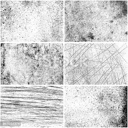 Rectangle grunge texture backgrounds. One color - black. Set of six different rectangle backdrops