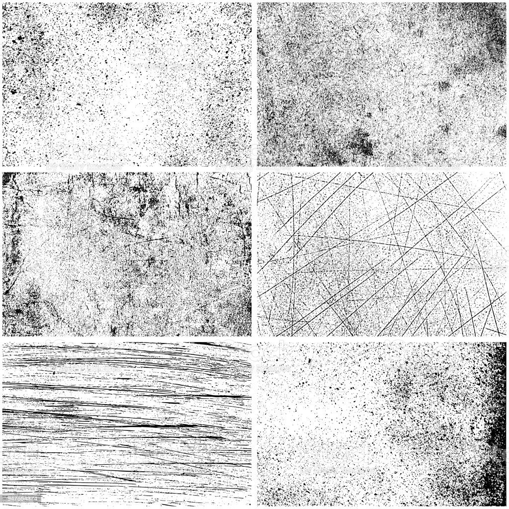 Set of monochrome texture backgrounds vector art illustration