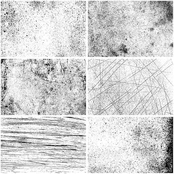 illustrazioni stock, clip art, cartoni animati e icone di tendenza di set of monochrome texture backgrounds - texture effetti fotografici