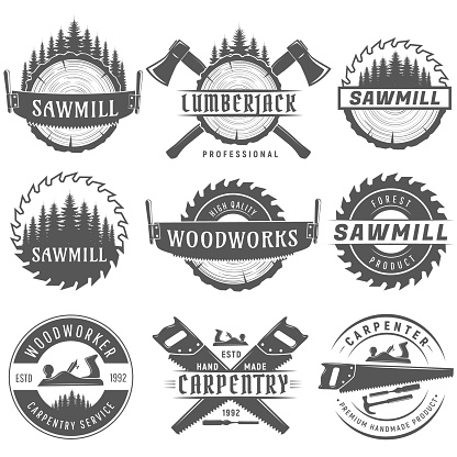 Set of monochrome vector logos, emblems end labels for carpentry, woodworkers, lumberjack, sawmill service.Isolated on white background.