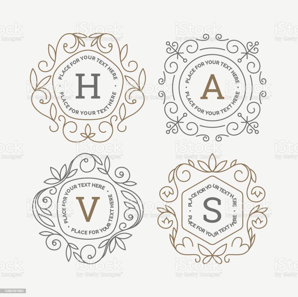 Uppsättning av monogram logotyp mall med blomstrar kalligrafiska elegant prydnad ramar. Identitet design med brev för café, butik, butik, restaurang, boutique, hotell, heraldiska, mode och etc. - Royaltyfri Antik vektorgrafik