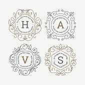 Set of monogram logo template with flourishes calligraphic elegant ornament frames. Identity design with letter for cafe, shop, store, restaurant, boutique, hotel, heraldic, fashion and etc