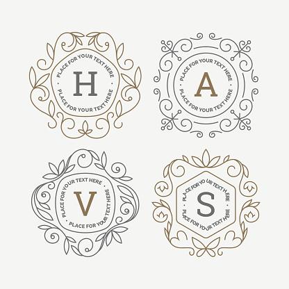Uppsättning Av Monogram Logotyp Mall Med Blomstrar Kalligrafiska Elegant Prydnad Ramar Identitet Design Med Brev För Café Butik Butik Restaurang Boutique Hotell Heraldiska Mode Och Etc-vektorgrafik och fler bilder på Antik