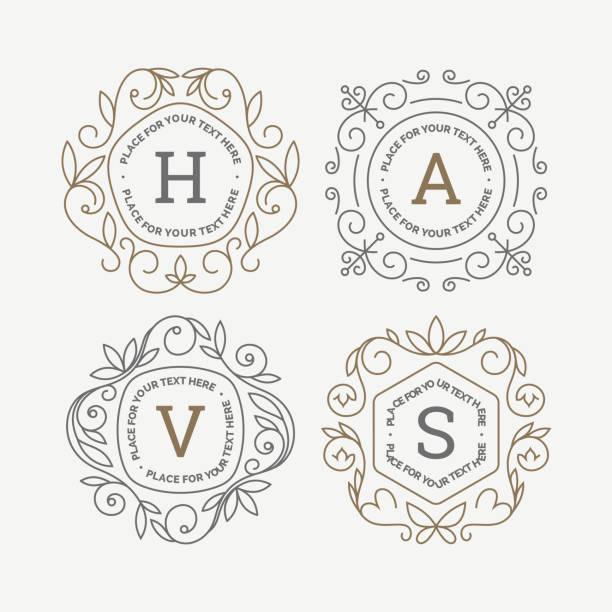 satz von monogram logo vorlage mit schnörkeln kalligraphische elegantes ornament rahmen. identity-design mit buchstaben für café, shop, shop, restaurant, boutique, hotel, heraldische, mode und etc. - monogrammarten stock-grafiken, -clipart, -cartoons und -symbole