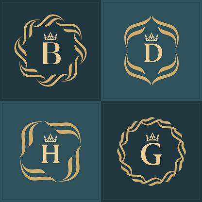 Set of Monograms. Letter D. Graceful Emblem Template. Collection of Elegant Simple Logos Design for Luxury Crest, Royalty, Business Card, Boutique, Hotel, Heraldic, Restaurant. Vector illustration