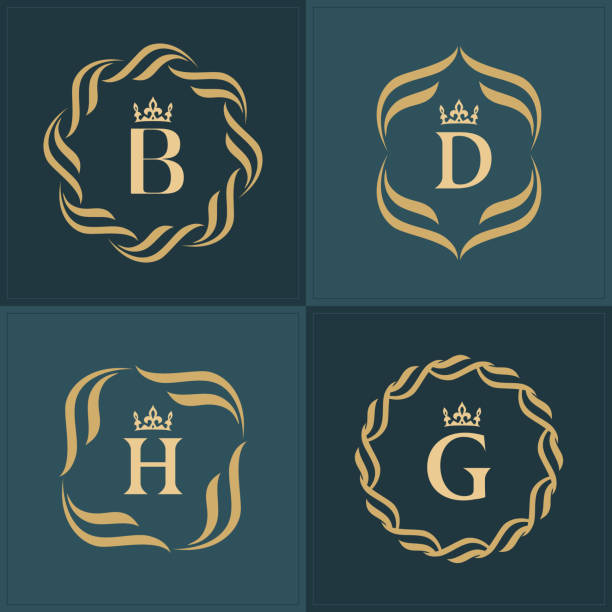 bildbanksillustrationer, clip art samt tecknat material och ikoner med uppsättning monogram. bokstaven d. graciösa emblem mall. insamling av elegant enkel logo typer design för lyx crest, royalty, visitkort, boutique, hotel, heraldic, restaurang. vektor illustration - lyxig monogram