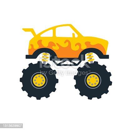 Set of monster trucks. Vector pickup truck with big wheels Cartoon car design ideas for boys.