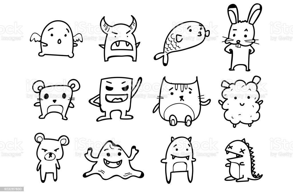 Ilustración de Conjunto De Monstruos Animales Doodle Dibujos ...