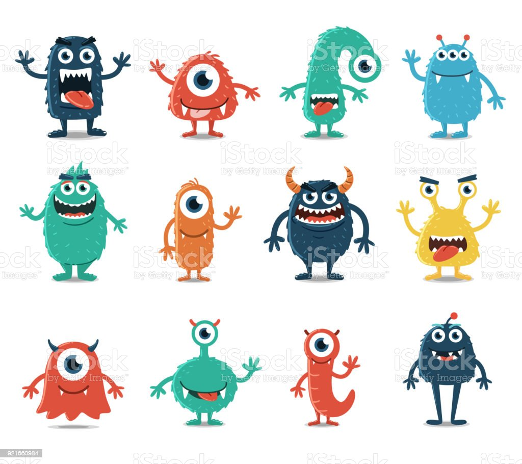 Set of Monsters Isolated on White Background vector art illustration