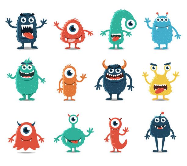 set of monsters isolated on white background - virus stock illustrations