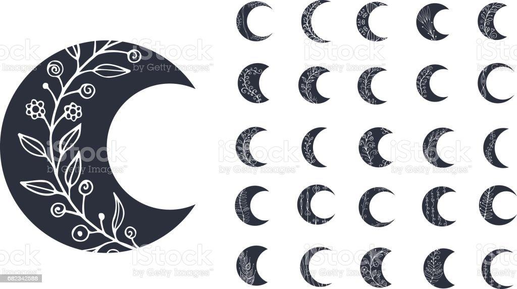 Conjunto de ícones de lua com elementos florais, isolados no fundo branco. Ilustração vetorial - ilustração de arte em vetor