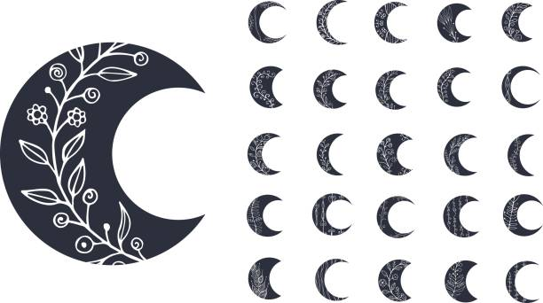 set of moon icons with floral elements isolated on white background. vector illustration - moon tattoos stock illustrations, clip art, cartoons, & icons