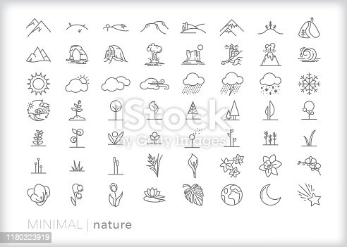 56 nature line icons of trees, flowers, mountains, landscapes, national park sites, flowers and weather