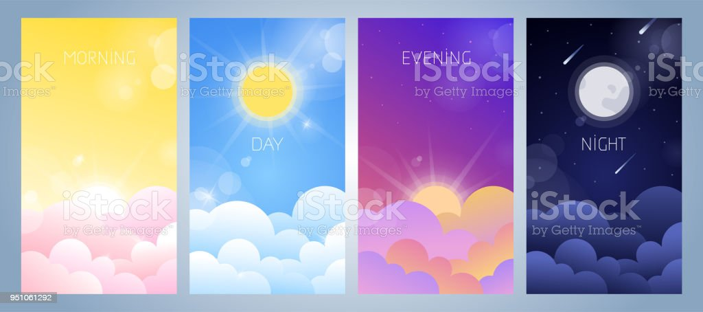 Set of morning, day, evening and night sky illustration vector art illustration