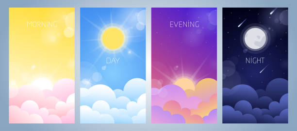 illustrazioni stock, clip art, cartoni animati e icone di tendenza di set of morning, day, evening and night sky illustration - mattina