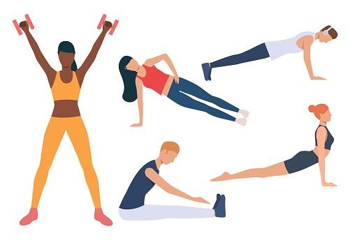 Set of morning exercises. Men and women doing yoga