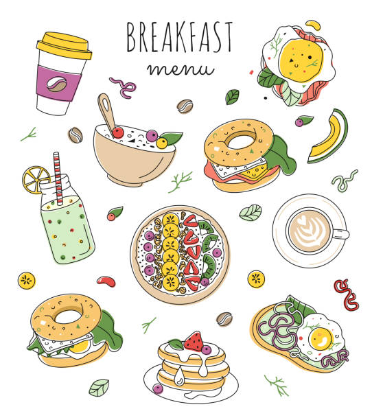 ilustrações de stock, clip art, desenhos animados e ícones de set of morning food illustrations. healthy breakfast menu design. editable stroke - granola
