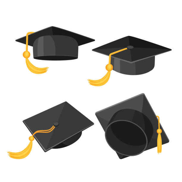 Set of mortarboard caps with golden tassels from different sides vector art illustration